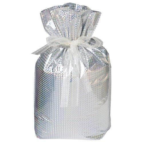 6-Piece Drawstring Gift Bags, Medium, Diamond Silver