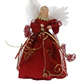 """Christmas Holiday Elegant Angel Tree Topper - Assorted, Red Or Gold, 9"""" X 5.5"""""""