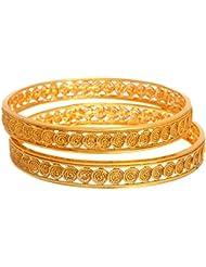 Meenaz Copper Bangles For Women Gold Plated Bangles For Women Bracelets Set Of 2 Pcs BA123 Ring Size 2.8