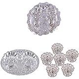 GS MUSEUM Silver Plated Rani Kumkum Plate, Silver Plated Oval Kumkum Plate And Silver Plated Set Of 6 Devdas Deepak