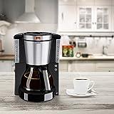 Melitta 1011-06 Look de Luxe Kaffeefiltermaschine -Aromaselector -Tropfstopp schwarz/edelstahl -