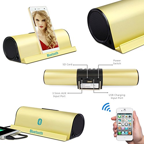 6W Portable Bluetooth Speaker With Stand Dock Wireless Stereo 2.1 Speakers Built-in 3.5mm Aux Port For Apple IPad...