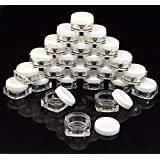 (96 Pieces) Beauticom 5 G/5 Ml High Quality Clear Plastic Cosmetic Square Container Jars With White Lids