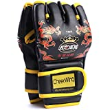 Cheerwing Half Finger Boxing Gloves MMA UFC Sparring Grappling Fight Punch Ultimate Mitts Leather Gloves D