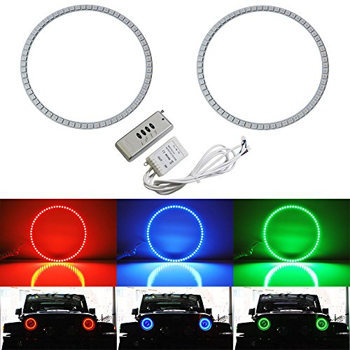 iJDMTOY 132-LED RGB Multi-Color LED Angel Eyes Halo Rings For Jeep Wrangler, CJ (Also any car with 7″ headlights)