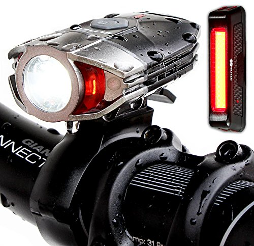 Blitzu Gator 380 Lumens Usb Rechargeable Bike Light Set with Led Tail Light, Waterproof, Easy Installation Flashlight for Cycling Safety
