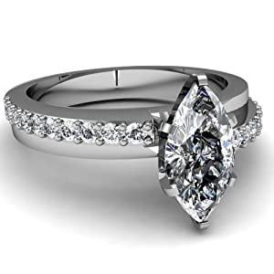 Pave Set Engagement Ring 0.85 Ct Marquise Very Good Cut Diamond VVS1-G GIA Certificate # 2156168497