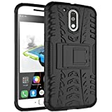 MACC Tough Hybrid Armor Back Cover Case With Kickstand For Moto G4 Plus (Gen 4) / 4th Generation (Black)