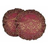Banarasi Elephant Work Design Round Peacock Silk Cushion Cover 16 X 16 Sets Of 2