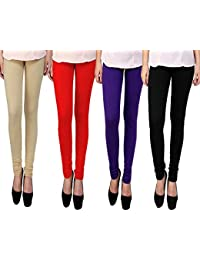 Snoogg Womens Ethnic Chic Inspired Churidaar Leggings In Beige, Red, Purple And Black