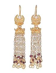 Amethyst By Rahul Popli Orange Gold Plated Dangle & Drop Earrings