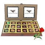 Valentine Chocholik's Belgium Chocolates - 18pc Gold Love Chocolate Box With Red Rose