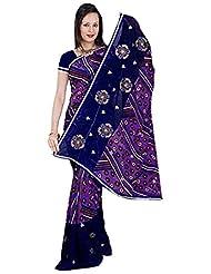 Vamika Chiffon Printed Saree (Violet & Blue)
