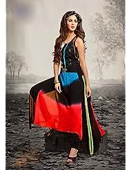 Deepkala Silk Heritage Women's Shaded Black And Red Georgette Printed Embellished Kurti