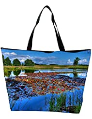 Snoogg Flowers On The River Designer Waterproof Bag Made Of High Strength Nylon
