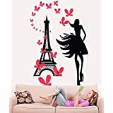 Hoopoe Decor Fashion Girl With Eiffel Tower Wall Stickers And Wall Decals, Best Wall Arts For Home Decoration...