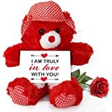 TiedRibbons® Valentine Day Gifts For Husband Teddy Bear With Valentine's Special Greeting Card And Red Rose