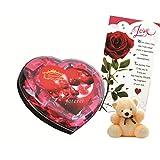 Skylofts Chocolate Valentine's Heart Box With A Cute Teddy & A Love Card