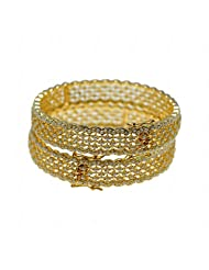 Beautiful Pair Of Bangles Made In Silver Alloyed Metal Studded Pearls