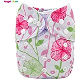 Baby Cloth Diapers, ANGEL LOVE Baby Reusable Washable All In One Size Pocket Diapers, Adjustable Snap, 1 Pcs Cloth...