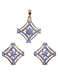 Gehna Square Shaped Curve Pendant & Earrings Set With Yellow Tone Rhodium