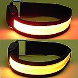 【2個 セット】 全5色 高輝度 LED アーム バンド 青 赤 緑 黄 橙 の組み合わせ (07. 赤 & 橙)