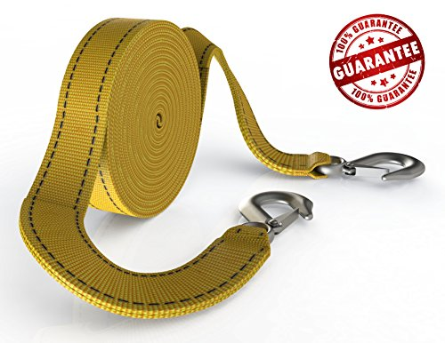 Towing Strap Pro – Tow Straps with Hooks – The Quick and Effective 20 Feet Long 10000 Lb Capacity Heavy Duty Recovery Securing Accessories for Cars & Trucks with a Vehicle Storage Bag