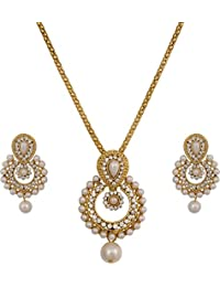 Jdx Gold Plated Australian Diamond Necklace With Drop Earrings Set For Women