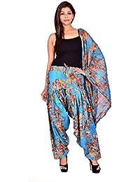 Fashion Store Women Printed Solid Cotton Full Multi-Coloured Patiala Salwar Dupatta Set(Free Size,.Blue)