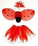 Girls Ladybug Wings Costume Set with Tutu, Wings, Antennas, Hair Tie And