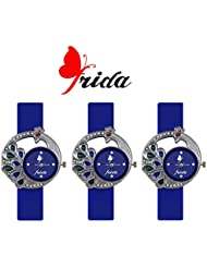 Frida New LatesT Designer Blue Color PU Belt Analog Titan Looks Best Offer Deal Classical Combo Of 4 Group Watch...