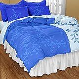Dreamscape 100% Cotton 144 TC Dark Blue Floral Double Bedsheet With 2 Pillow Covers (7054)