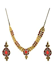 I Jewels Traditional Gold Plated Stone Necklace Set With Maang Tikka For Women (Red) (Ij240R)