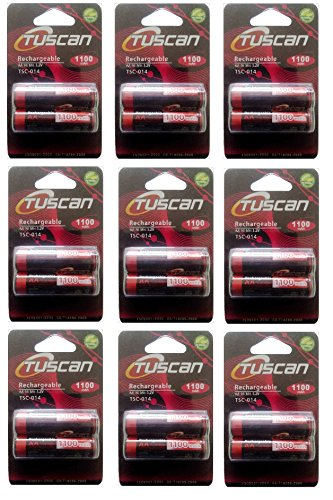 Tuscan 9 Packs Of 18 Pieces 1100mah AA 1.2V, Rechargeable Ni-Mh Batteries 1100 MAh AA Size