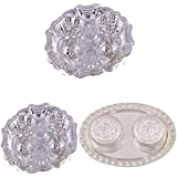 GS MUSEUM Silver Plated Rani Kumkum Plate 2 Sets And Silver Plated 2 RK Dibby Set