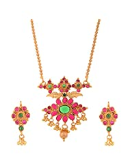 Ganapathy Gems 1 Gram Gold Plated Traditional South Indian Necklace Set With Ruby And Green Stones - B00TOLBF8W