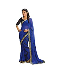 AG Lifestyle Blue Faux Georgette Saree With Unstitched Blouse AKS2020