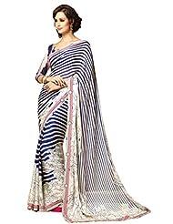 Infigo Women Blue Chiffon Printed Saree