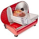 Andrew James - Elektrische Präzisions-Aufschnittmaschine Allesschneider in Rot - 19cm Klinge + 2 Extra Klingen für Brot und Fleisch - 2 Jahre Garantie