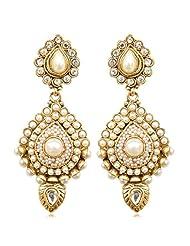 Antique INDIA Traditional Bollywood Pearl Stone Polki Earring-White