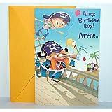 Pirate Themed Happy Birthday Greeting Card - Boy