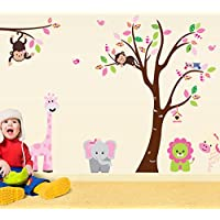 Oren Empower Multicolor Jungle Theme Based Wall Sticker For Kids Room (Wall Covering Area - 220 Cm X 140 Cm)