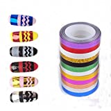 12 Mix Colors New Metallic Wave Nail Art Tape Lace Line Strips Striping Decoration For UV Gel Polish Nail Art...