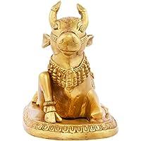 Kapasi Handicrafts Emporium Brass Nandi Sitting Statue Idol (15.32 Cm X 26.95 Cm X 19.6 Cm, Gold, AIN004837)