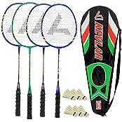 Guru Kevler(Composit) BR02 COMBO-03 Badminton Racket Set Pack Of Four With Four Cover & 6 Shuttlecock Size: 27...