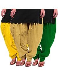 Women's Yellow-Beige-Green Cotton Patiala Salwar