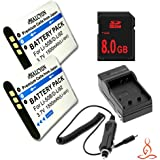 Two Halcyon 1500 MAH Lithium Ion Replacement Battery And Charger Kit + 8GB SDHC Class 10 Memory Card For Olympus...