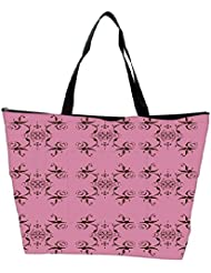 Snoogg Abstract Cream Pink Pattern Designer Waterproof Bag Made Of High Strength Nylon