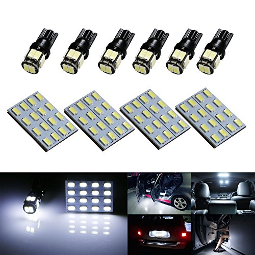 iJDMTOY Xenon White 164-LED 10pcs Complete LED Interior/Exterior Lighting Kit For Car SUV Truck (Good For Map Dome Lights, Side Door Courtesy Lights, Trunk Cargo Lights, License Plate Lights, Parking Lights, etc)
