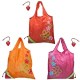 Wrapables Reusable Folded Into A Strawberry Shopping Tote Bag, Red/Pink/Orange, Set Of 3